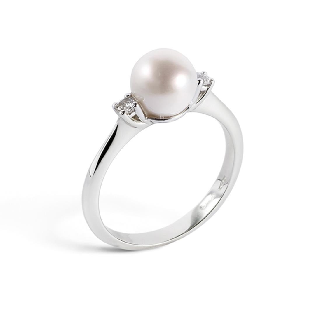 Anello con perla 6/6,5mm e diamanti ct. 0,09 - ALFIERI & ST. JOHN