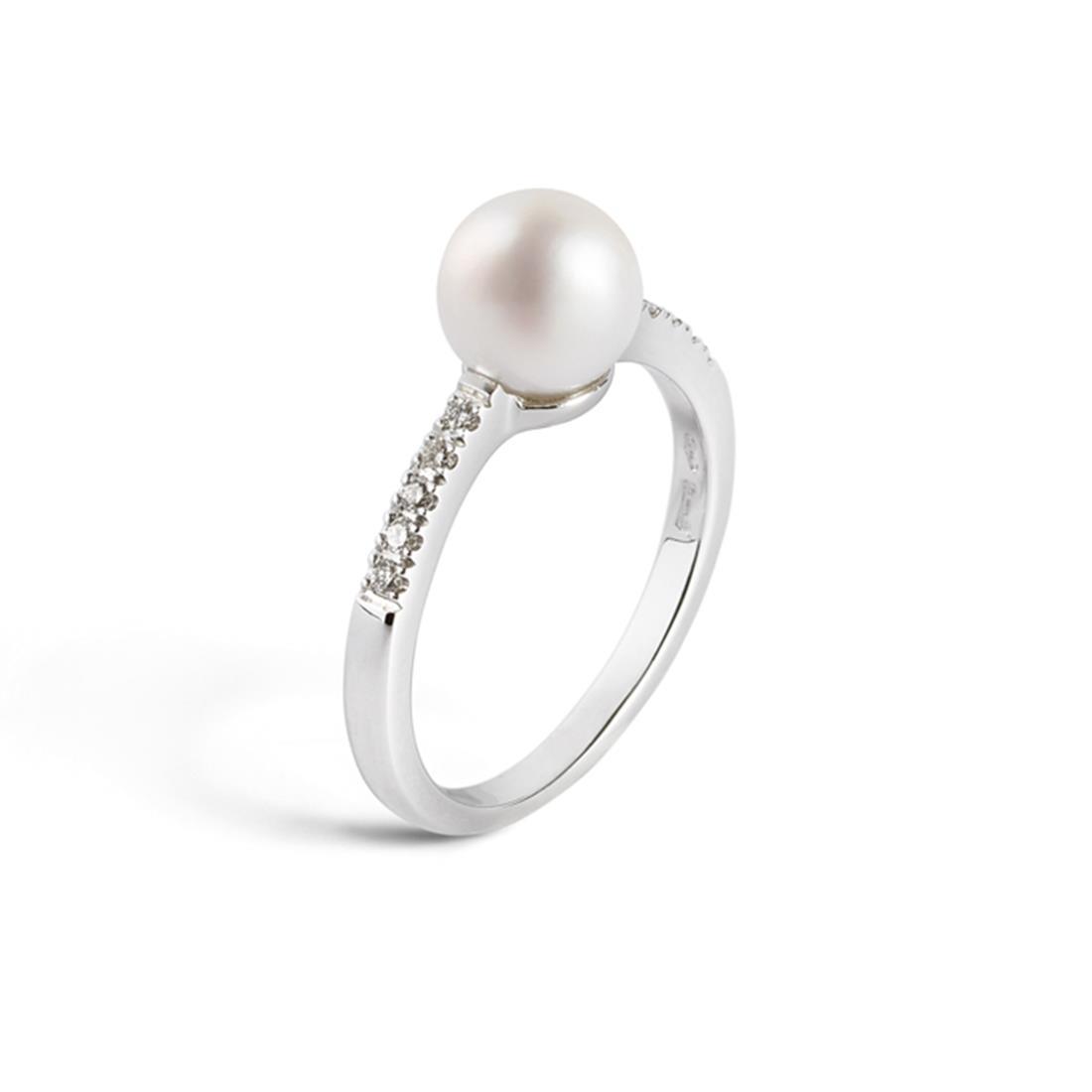 Anello riviere con diamanti ct. 0,10 e perla - ALFIERI & ST. JOHN