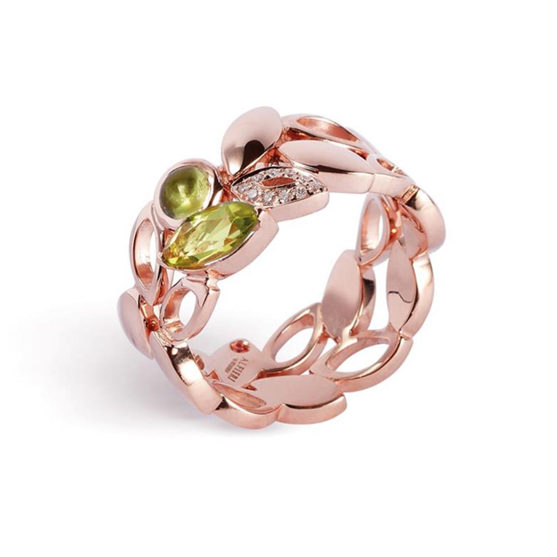 Anello in oro rosa con peridoto e diamanti  - ALFIERI & ST.JOHN