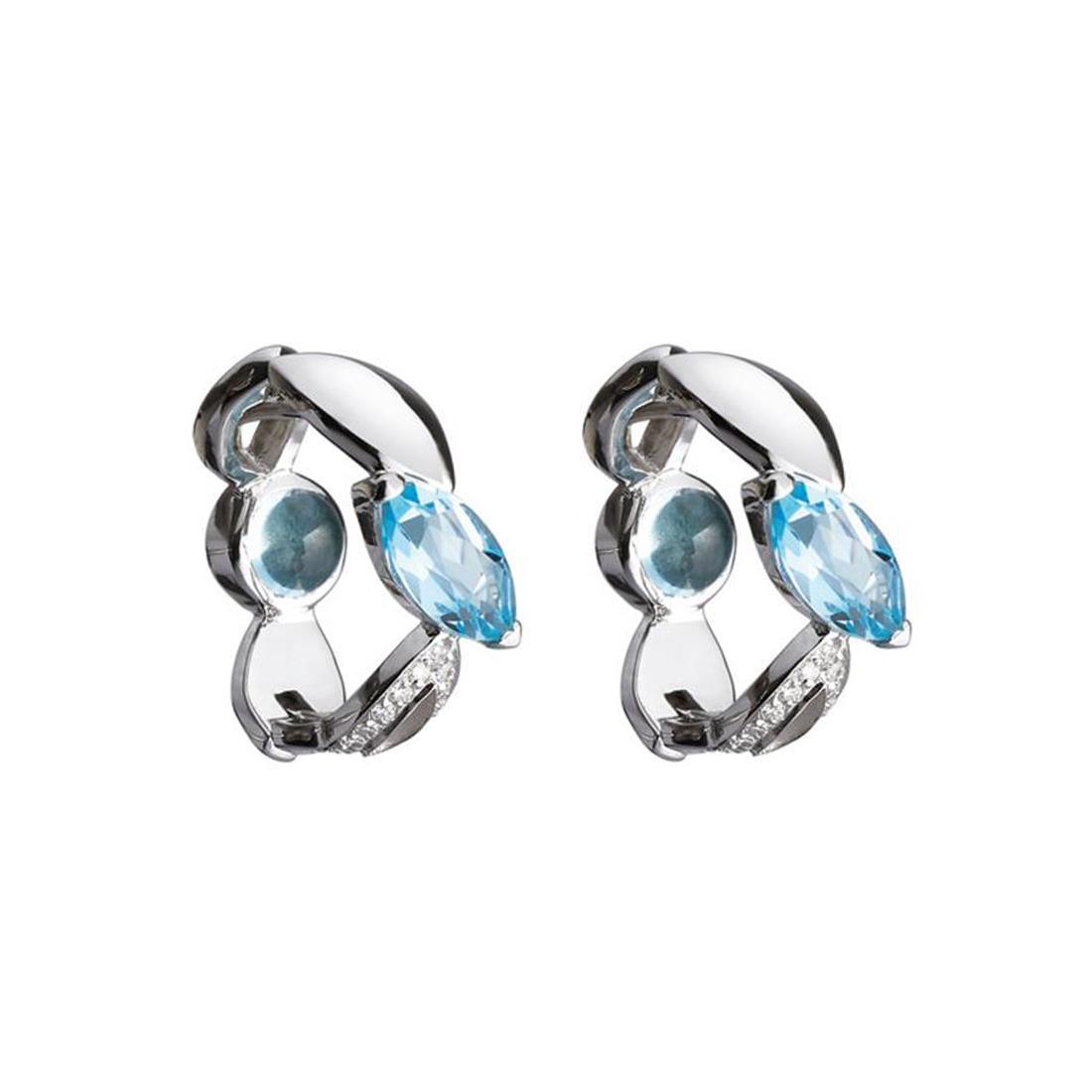 Orecchini creola in oro bianco con topazio azzurro e diamanti - ALFIERI & ST. JOHN