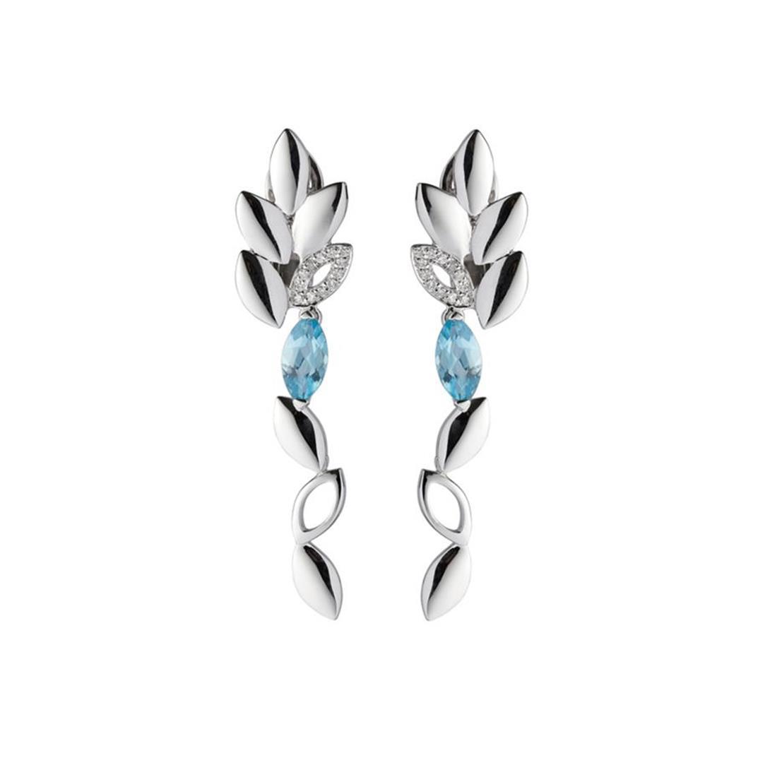 Orecchini in oro bianco con topazi azzurri e diamanti  - ALFIERI & ST. JOHN