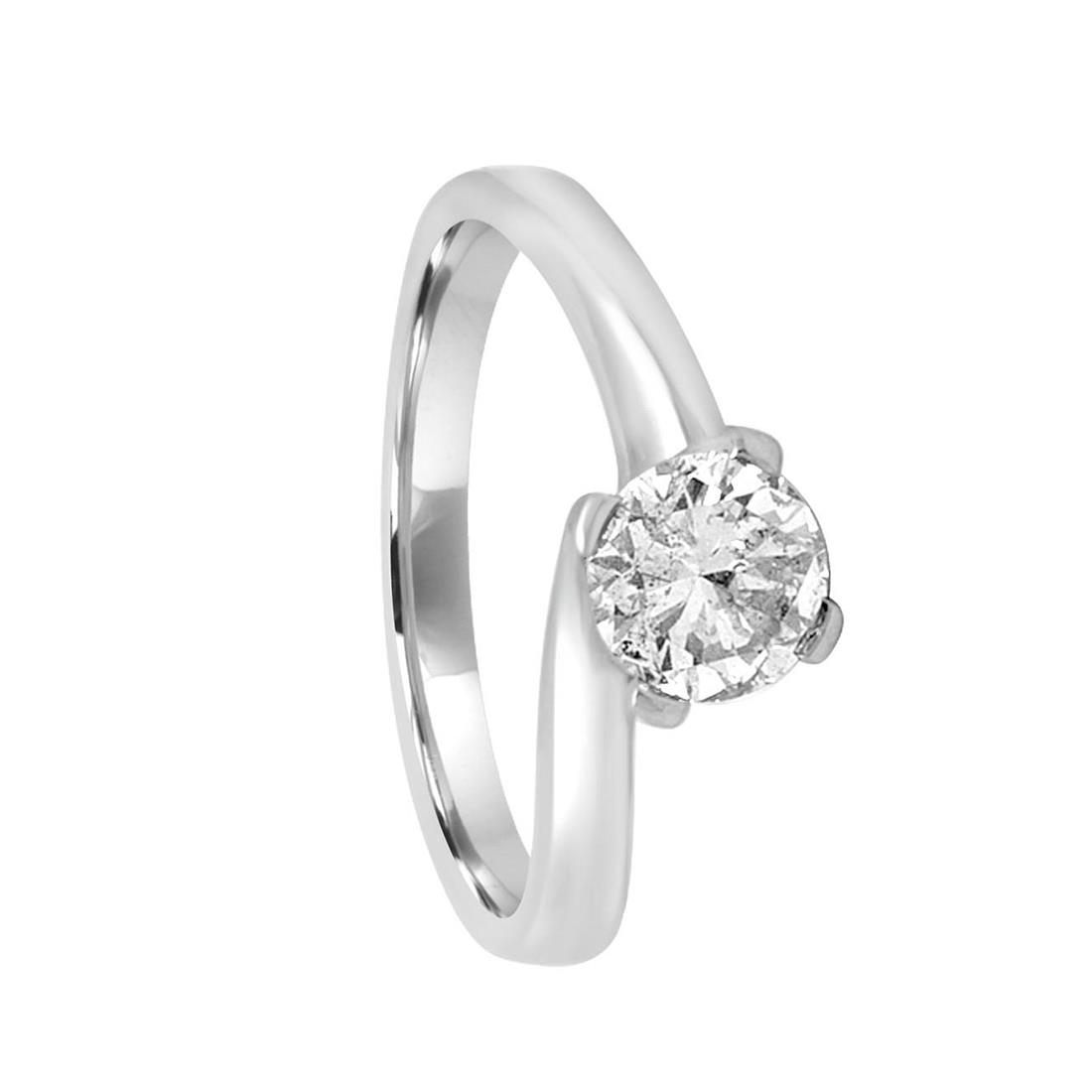 Anello solitario in oro bianco con diamante ct 0.84, misura 13 - ORO&CO