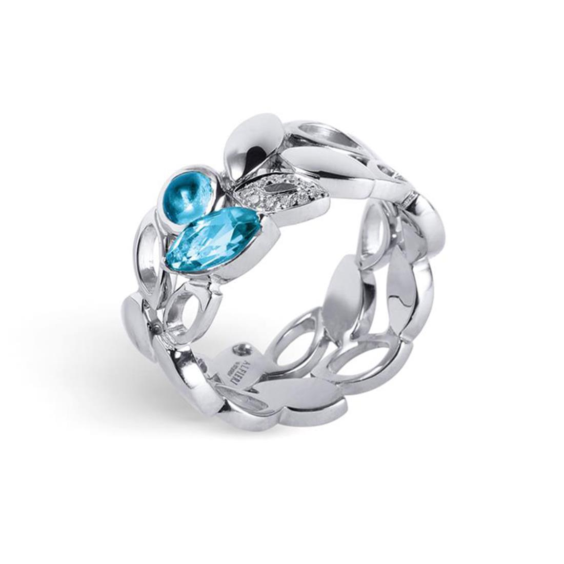 Anello in oro bianco con topazio azzurro e diamanti  - ALFIERI & ST.JOHN