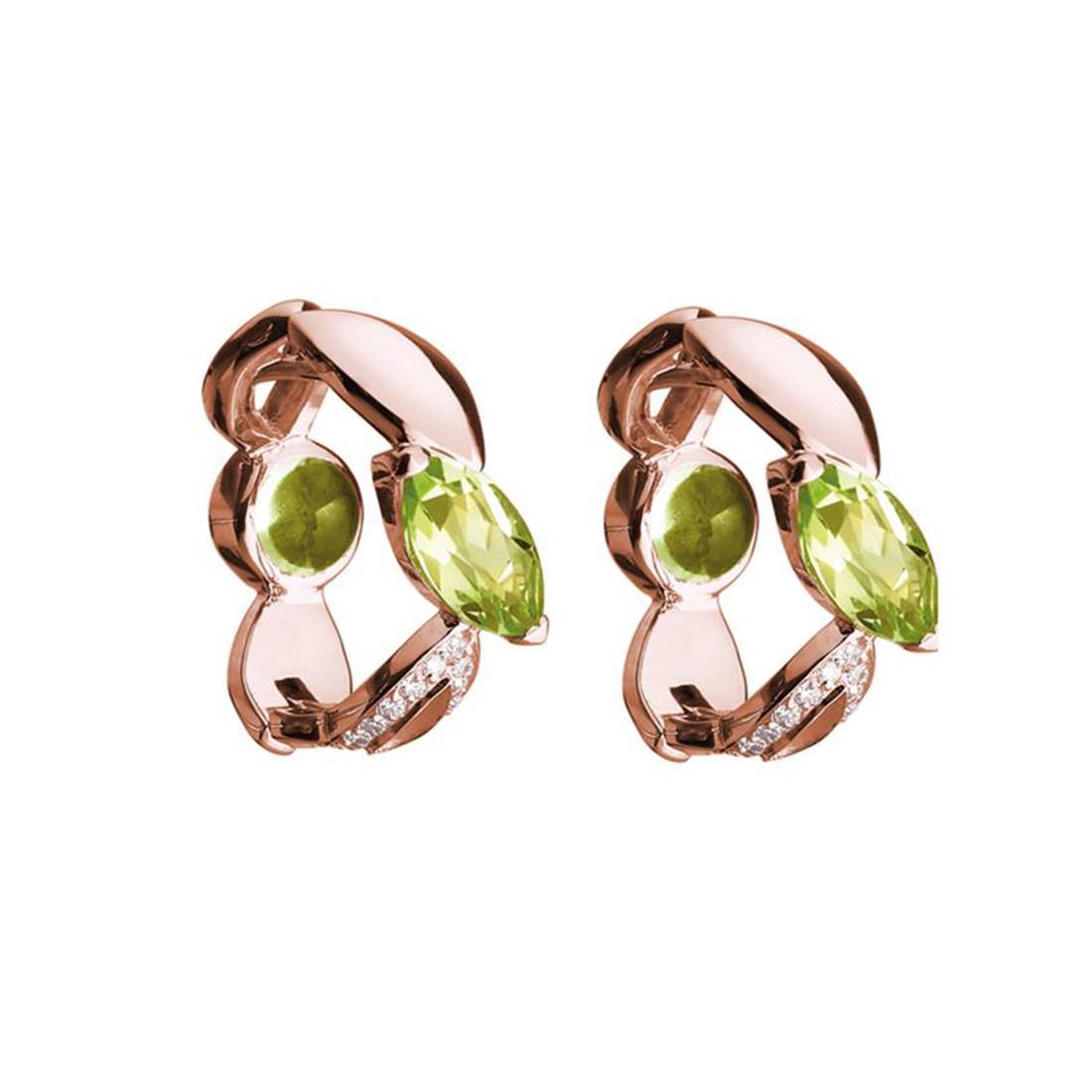 Orecchini creola in oro rosa con peridoto e diamanti  - ALFIERI & ST. JOHN