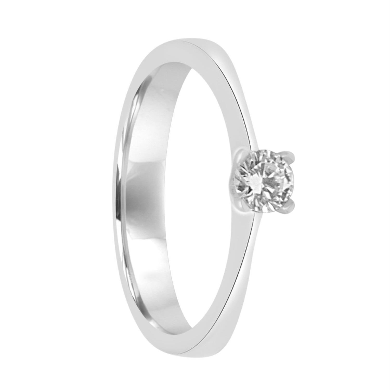 Anello solitario in oro bianco con diamante ct 0.22 mis 13  - ALFIERI & ST. JOHN