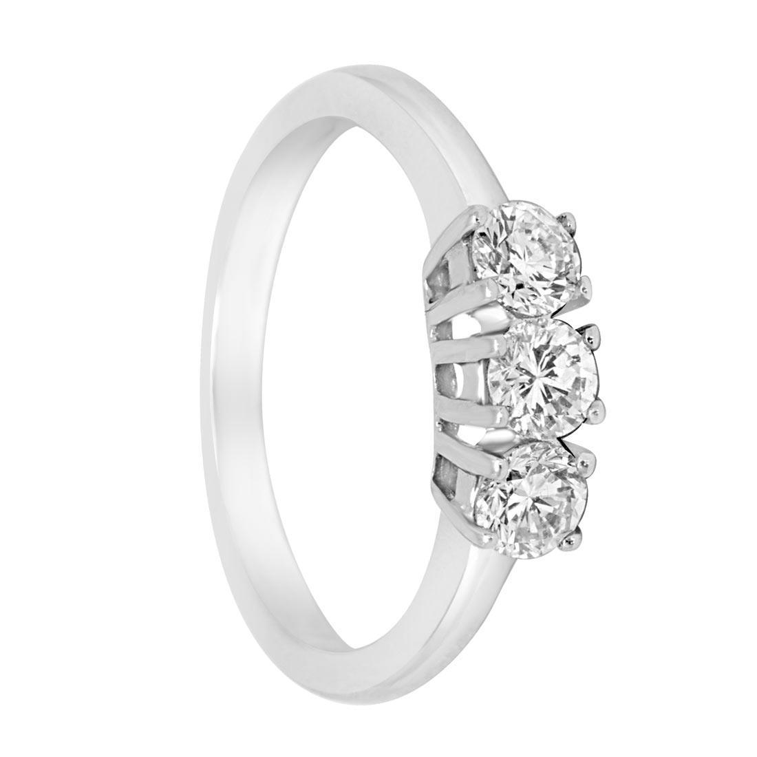 Anello trilogy in oro bianco con diamanti ct 0.61 misura 13 - ORO&CO
