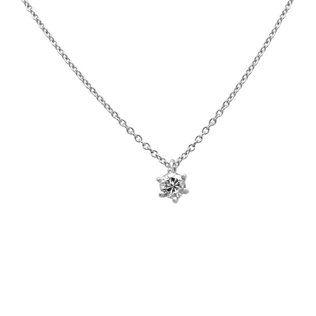Collier punto luce in oro bianco e diamante taglio princess ct 0.33 - ORO&CO