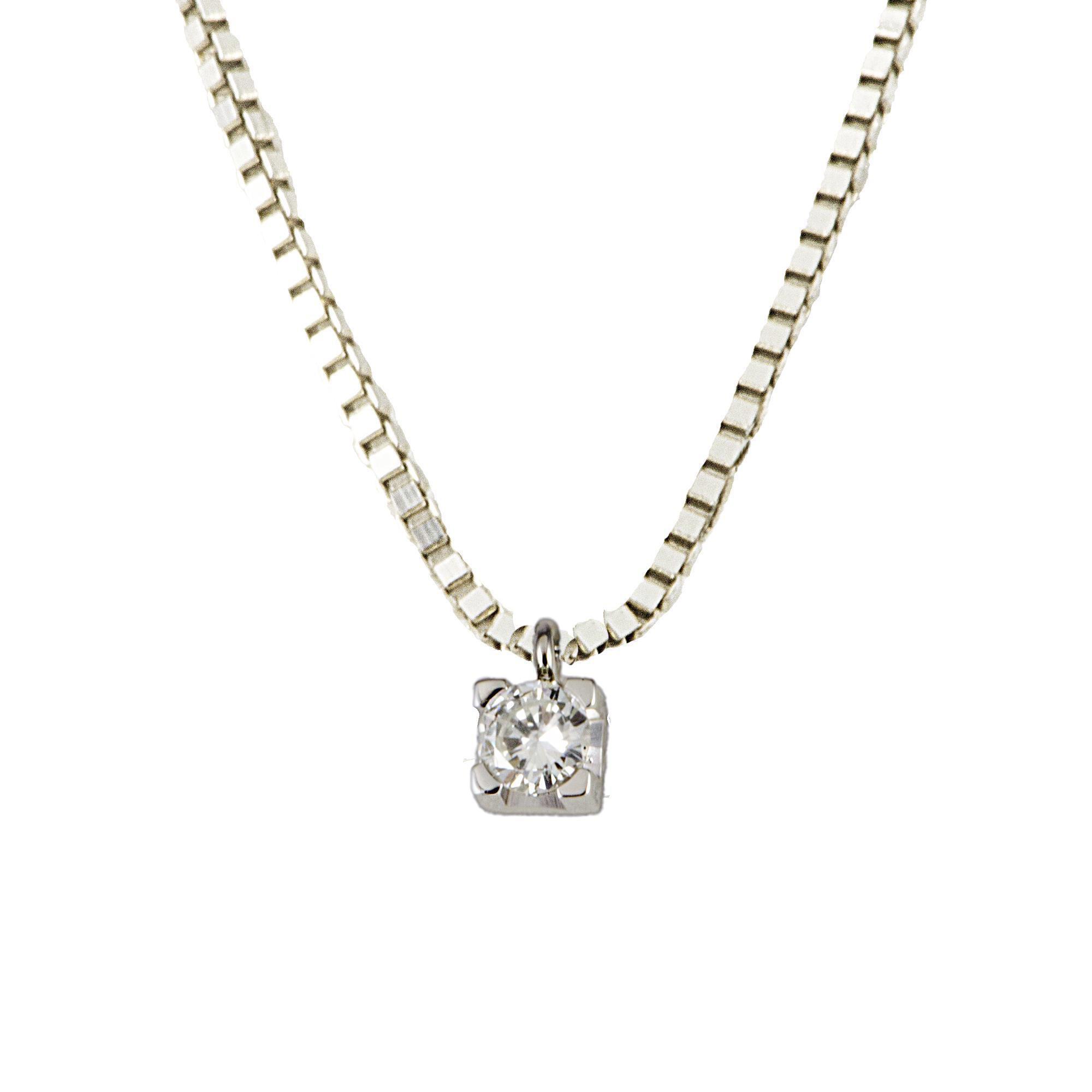 Collier Alfieri & St John in oro bianco e diamante ct 0,20  - ALFIERI ST JOHN