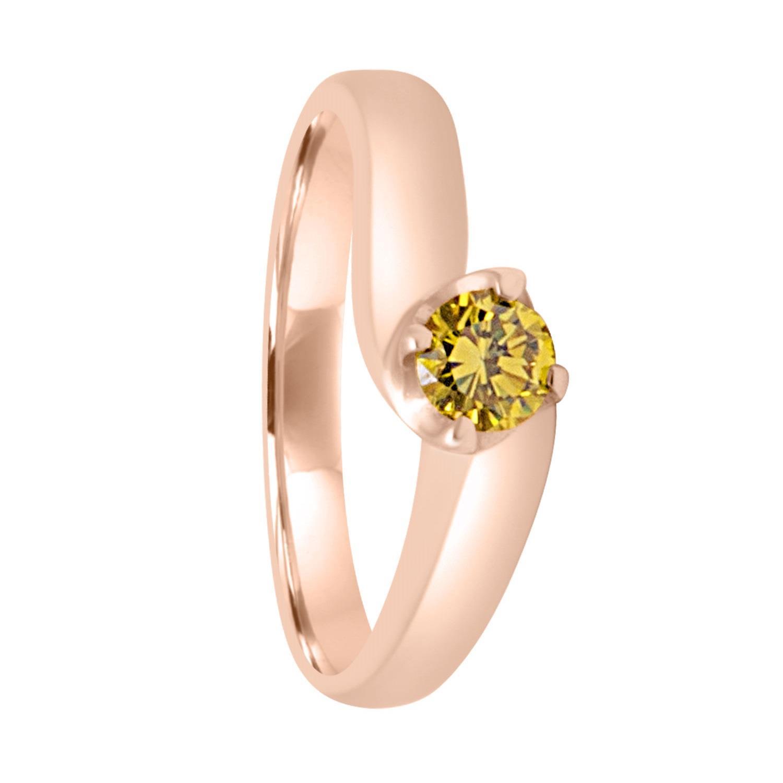 Anello solitario in oro giallo e diamante fancy ct 0.30 mis 13 - ORO&CO