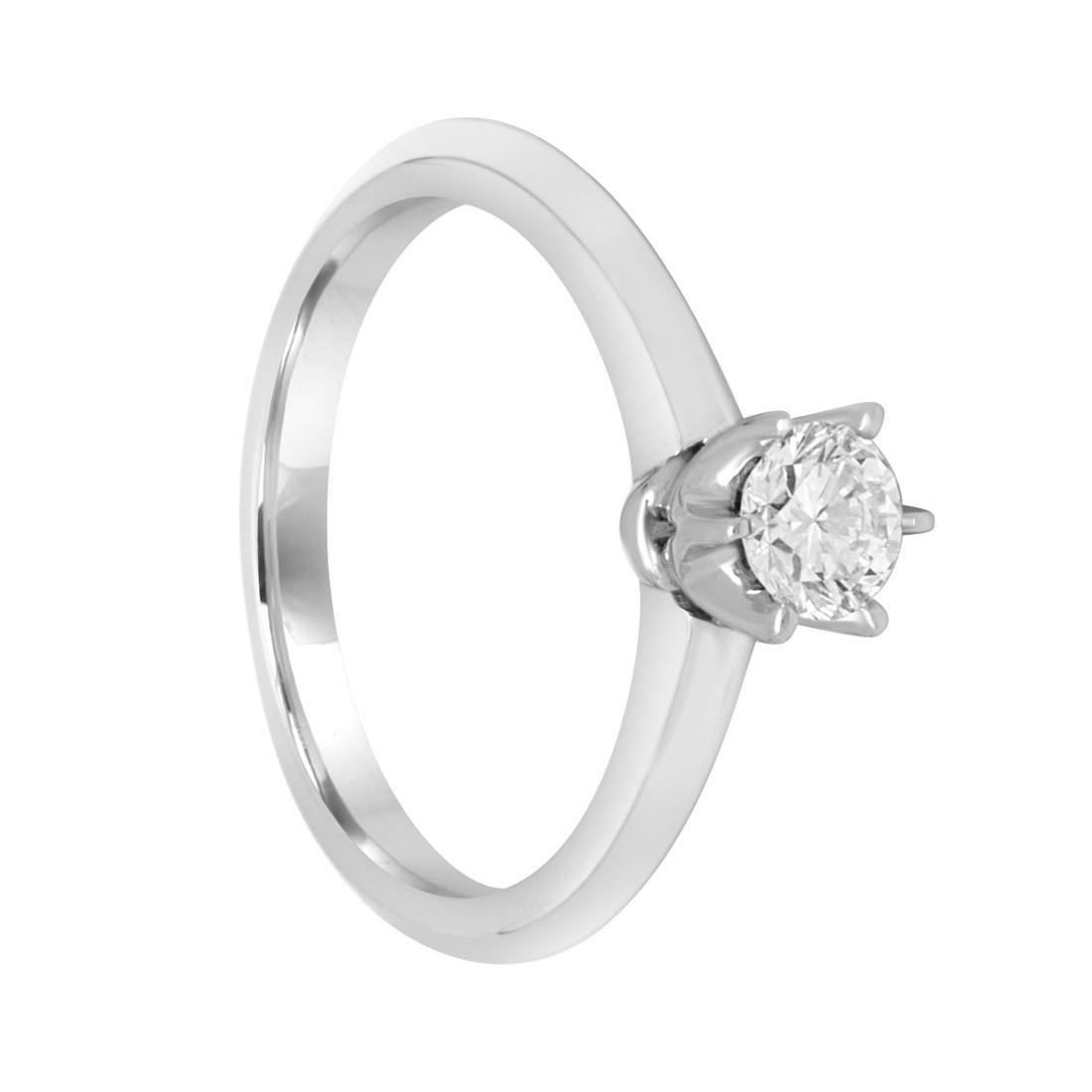 Anello solitario in oro bianco e diamanti ct. 0,52. Misura 13 - ALFIERI & ST.JOHN
