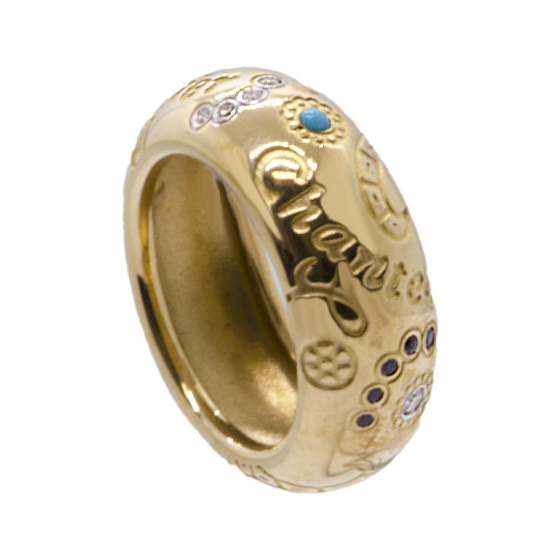 Anello Chantecler in oro giallo 9 kt con diamanti, zaffiri, rubini, smeraldi e turchese misura 15 - CHANTECLER