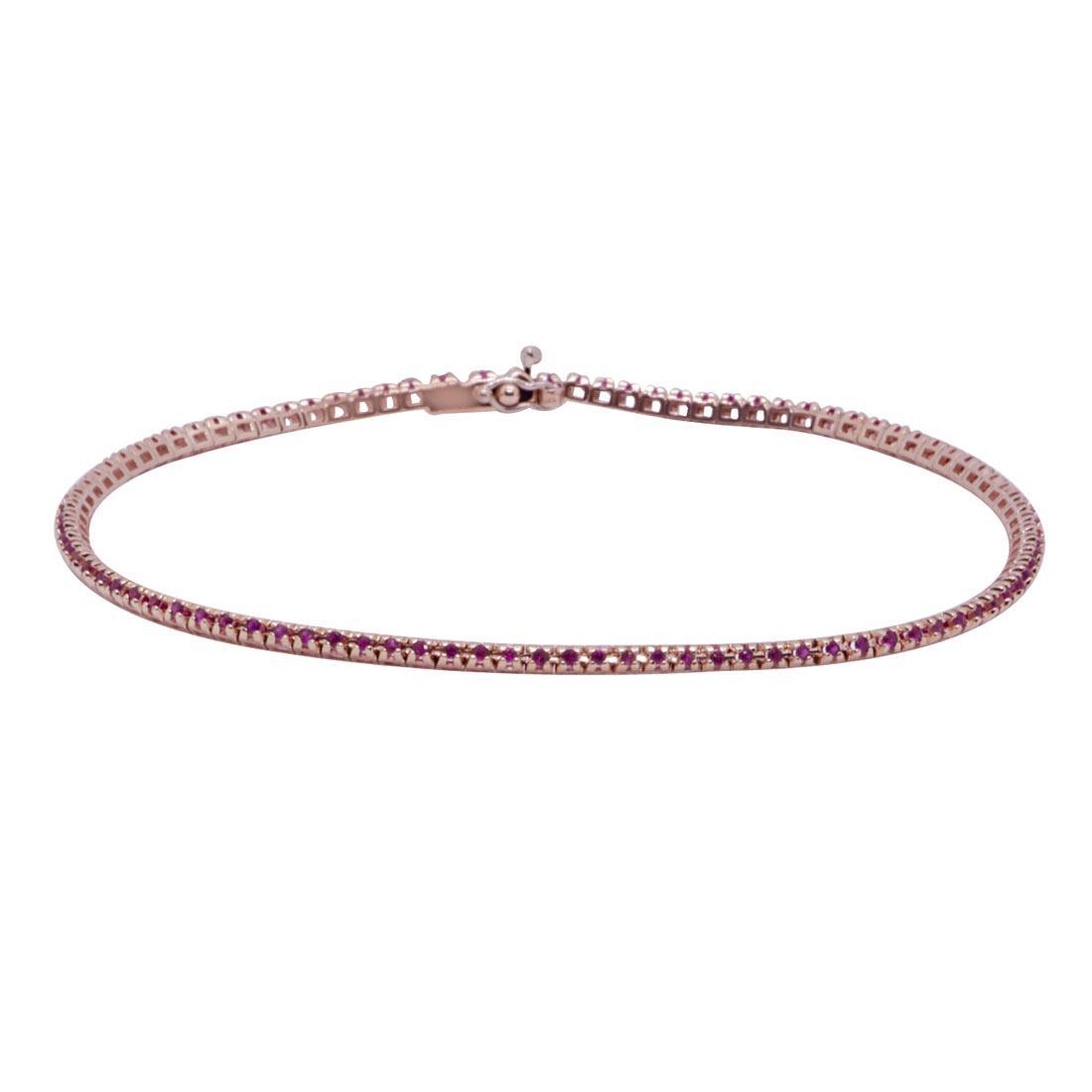 Bracciale tennis in oro rosa 9kt con rubini mis 18 cm - ORO&CO
