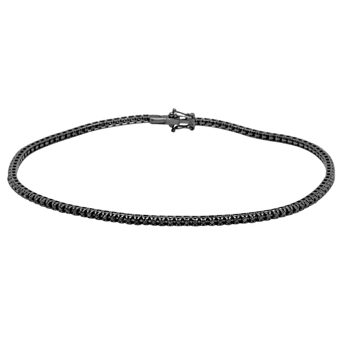 Bracciale tennis in oro nero 9kt con diamanti neri 0,90 ct mis 22 cm - ORO&CO