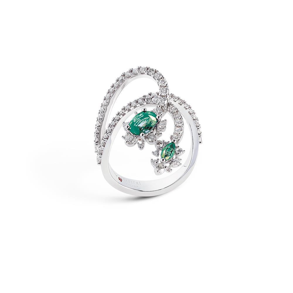Anello con diamanti e smeraldi - ALFIERI & ST. JOHN