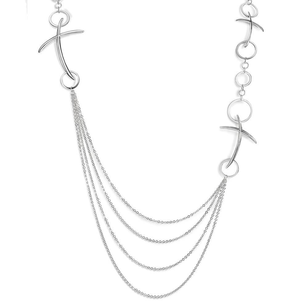 Collana croci lunga in argento - ALFIERI & ST. JOHN 925