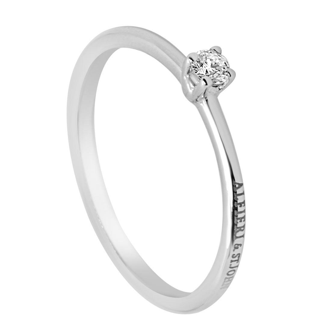 Anello solitario in oro bianco con diamante 0,08 ct mis 14 - ALFIERI & ST. JOHN
