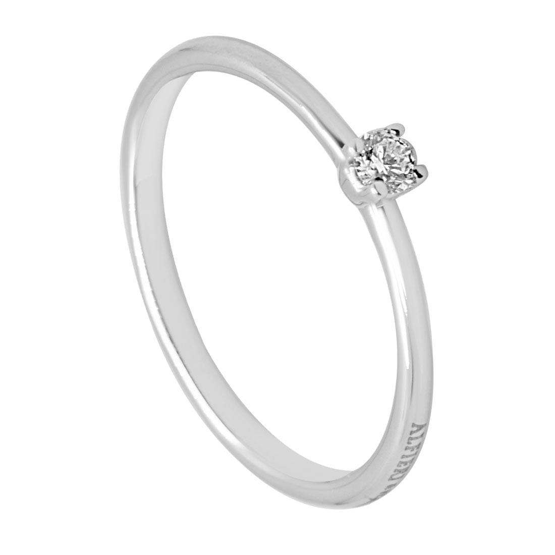 Anello solitario in oro bianco con diamante 0,08 ct mis 13 - ALFIERI & ST. JOHN