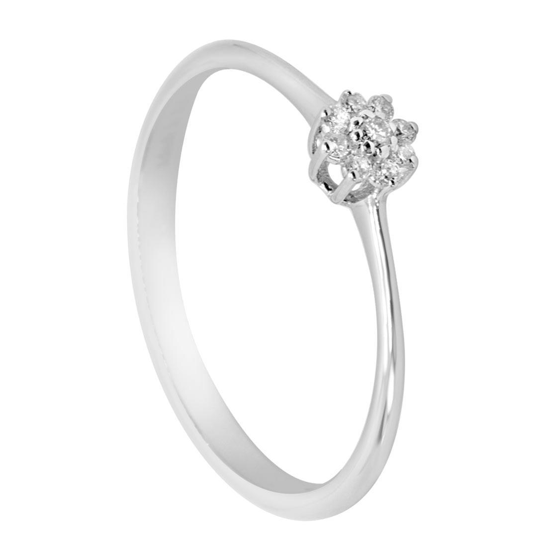 Anello in oro bianco con diamanti 0,06 ct mis 14 - ALFIERI ST JOHN