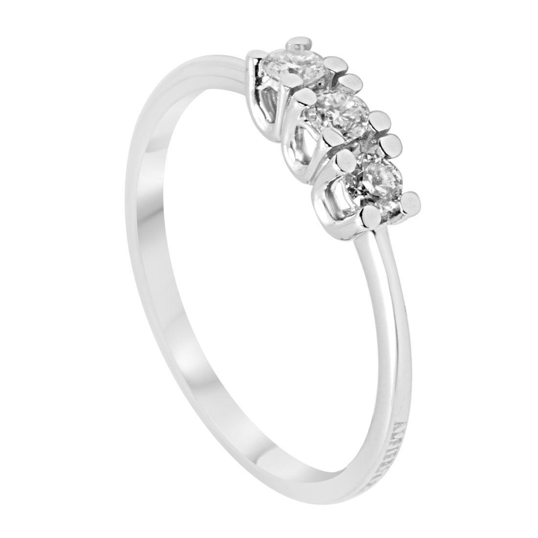 Anello trilogy in oro bianco con diamanti mis 13 - ALFIERI ST JOHN