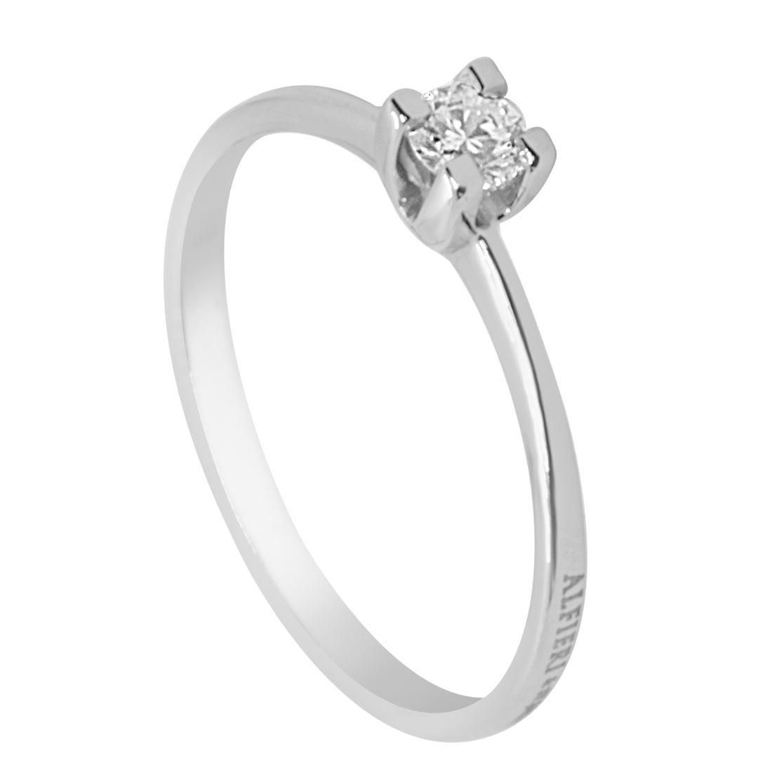 Anello solitario in oro bianco con diamante 0,16 ct mis 13 - ALFIERI & ST. JOHN