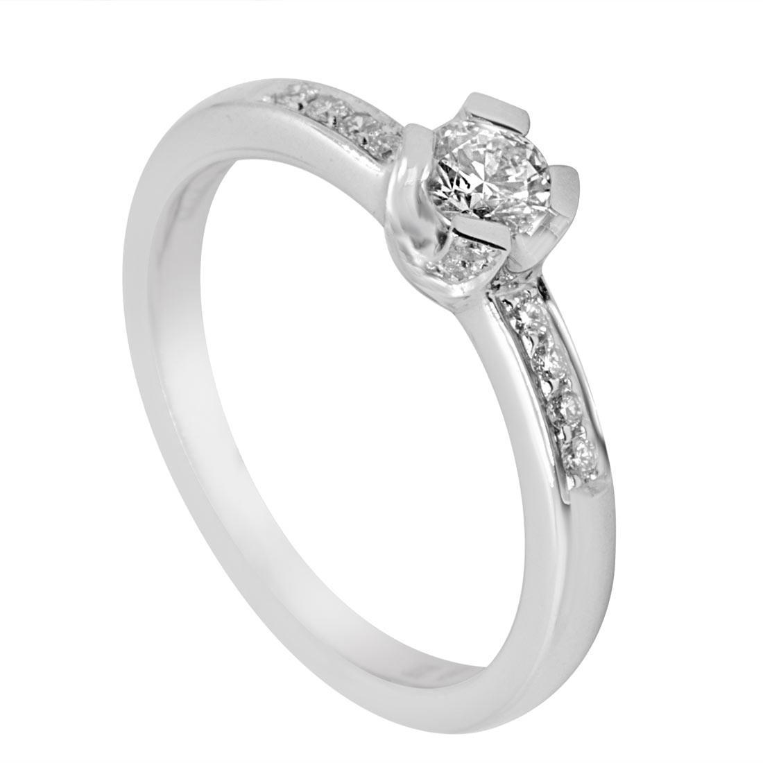 Anello in oro bianco con diamanti, mis 13 - ALFIERI & ST. JOHN