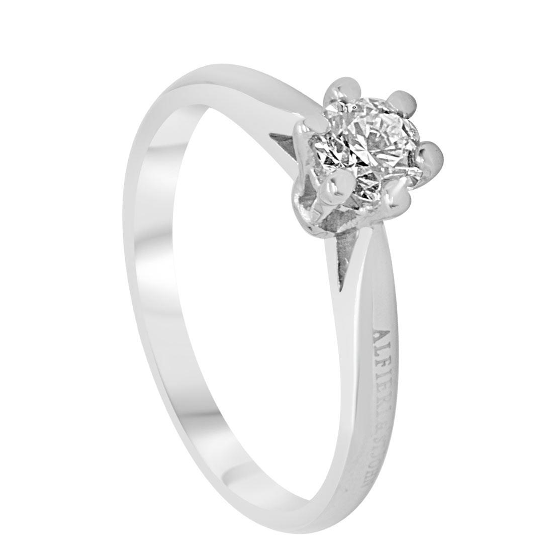 Anello solitario in oro bianco con diamante 0,42 ct mis 13 - ALFIERI ST JOHN