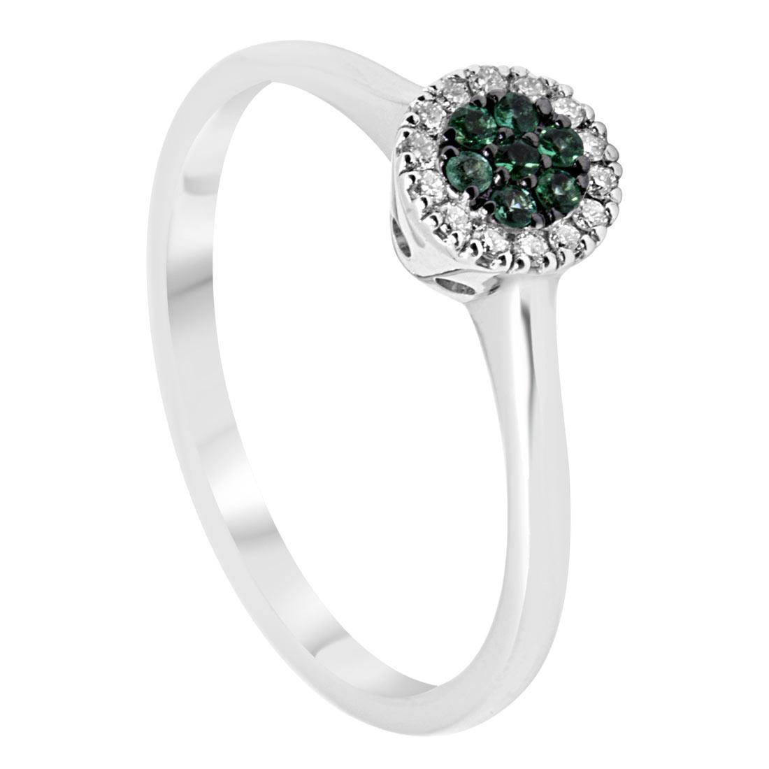 Anello in oro bianco con diamanti e smeraldi, mis 14 - ALFIERI & ST. JOHN