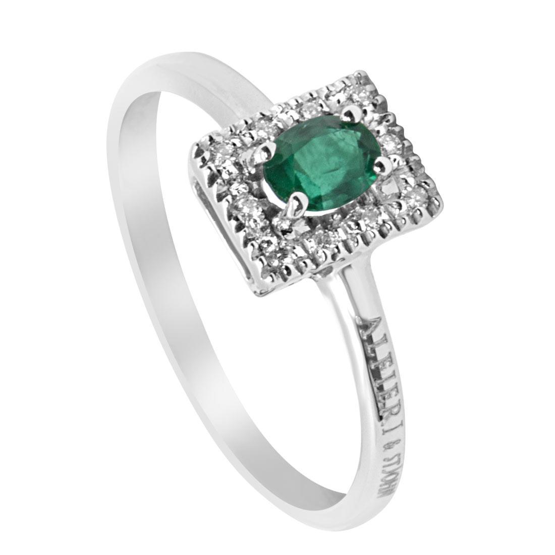 Anello in oro bianco con diamanti e smeraldo centrale mis 13 - ALFIERI & ST. JOHN