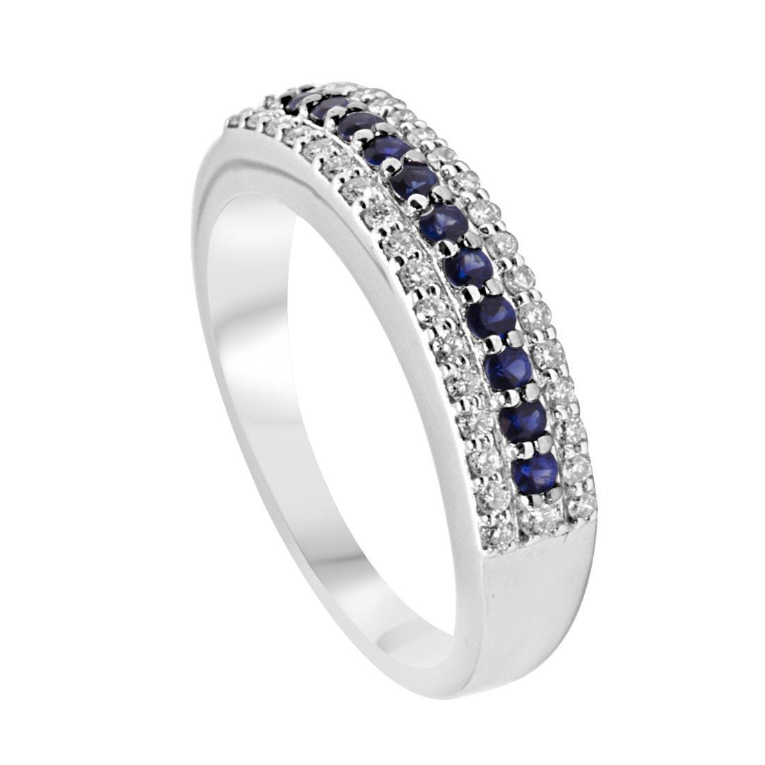 Anello veretta in oro bianco con diamanti e zaffiri mis 14 - ALFIERI & ST. JOHN