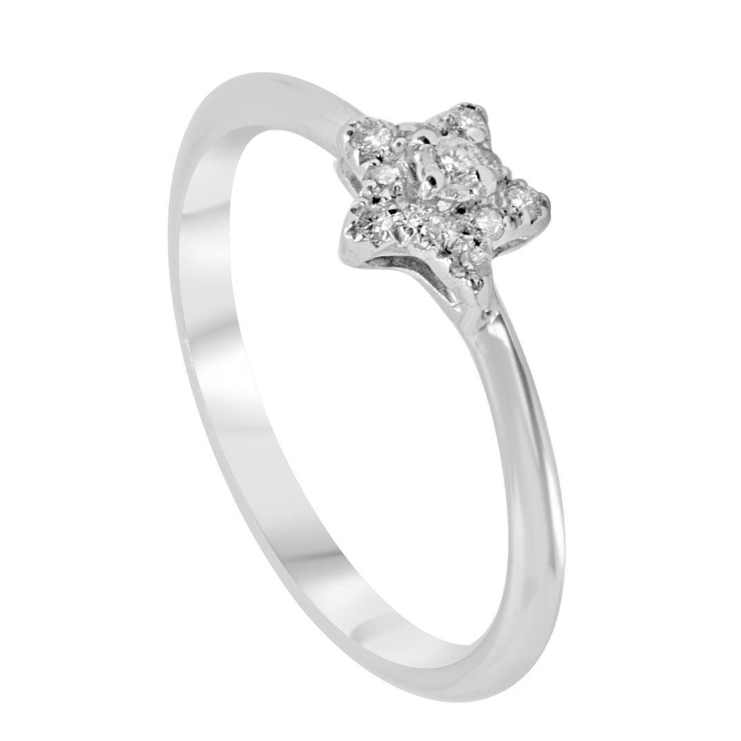 Anello in oro bianco con diamanti 0,12 ct mis 13  - ALFIERI & ST. JOHN