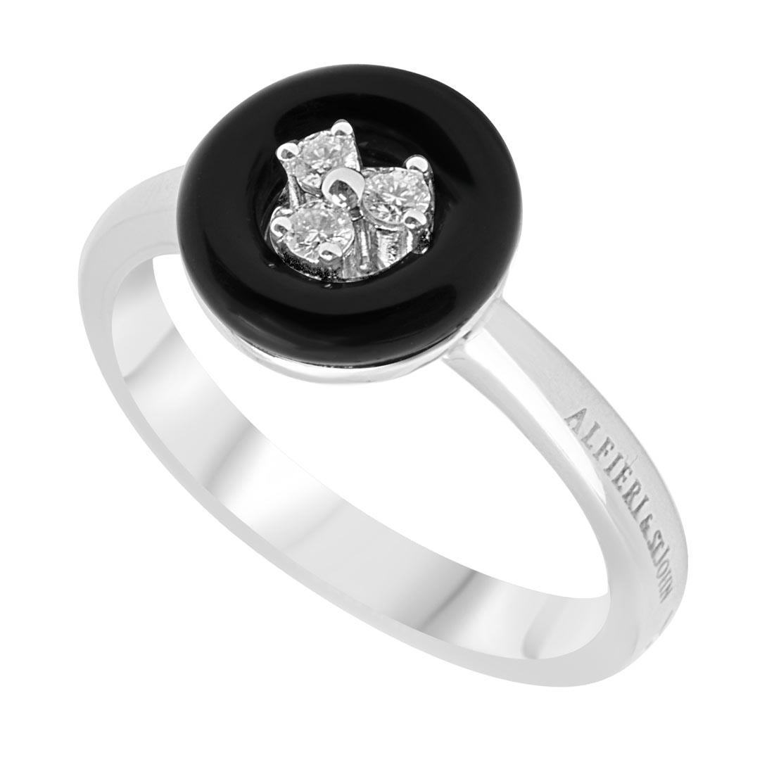 Anello in oro bianco con tre diamanti e pietra semipreziosa nera, mis 14 - ALFIERI & ST. JOHN