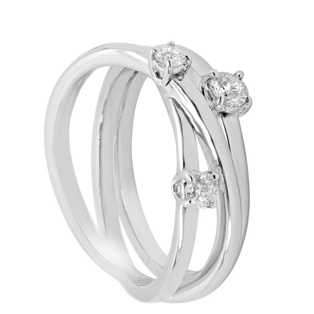 Anello in oro bianco con diamanti 0,30 ct mis 13 - ALFIERI & ST. JOHN