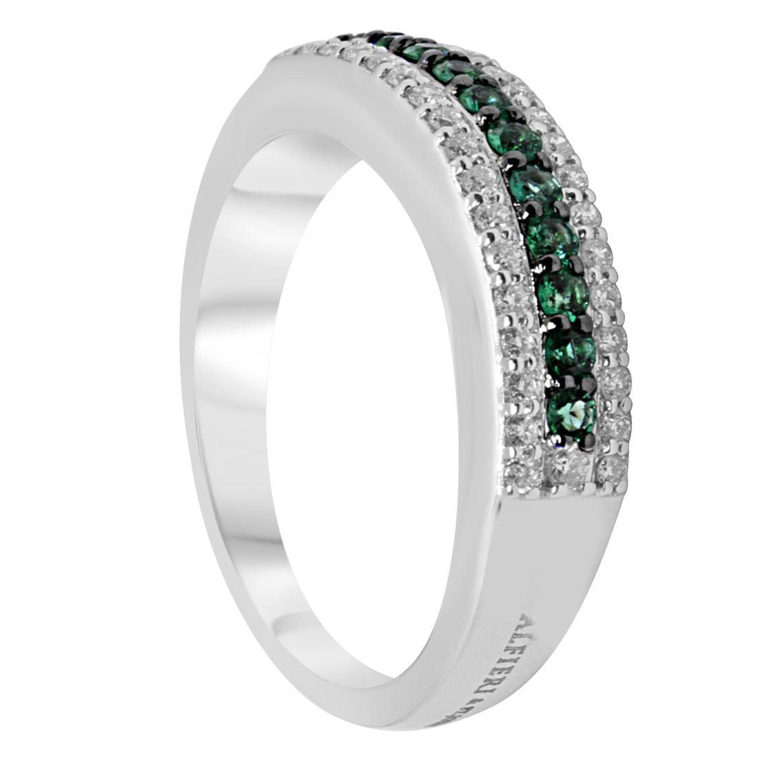 Anello veretta in oro bianco con diamanti e smeraldi, mis 13 - ALFIERI & ST. JOHN