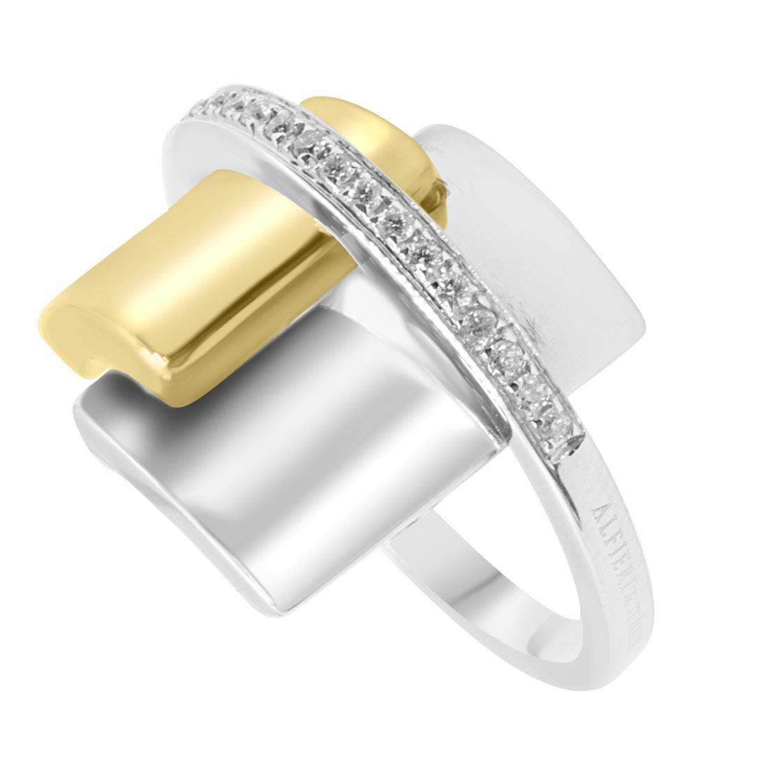 Anello in oro bianco e giallo con diamanti mis 13 - ALFIERI & ST. JOHN