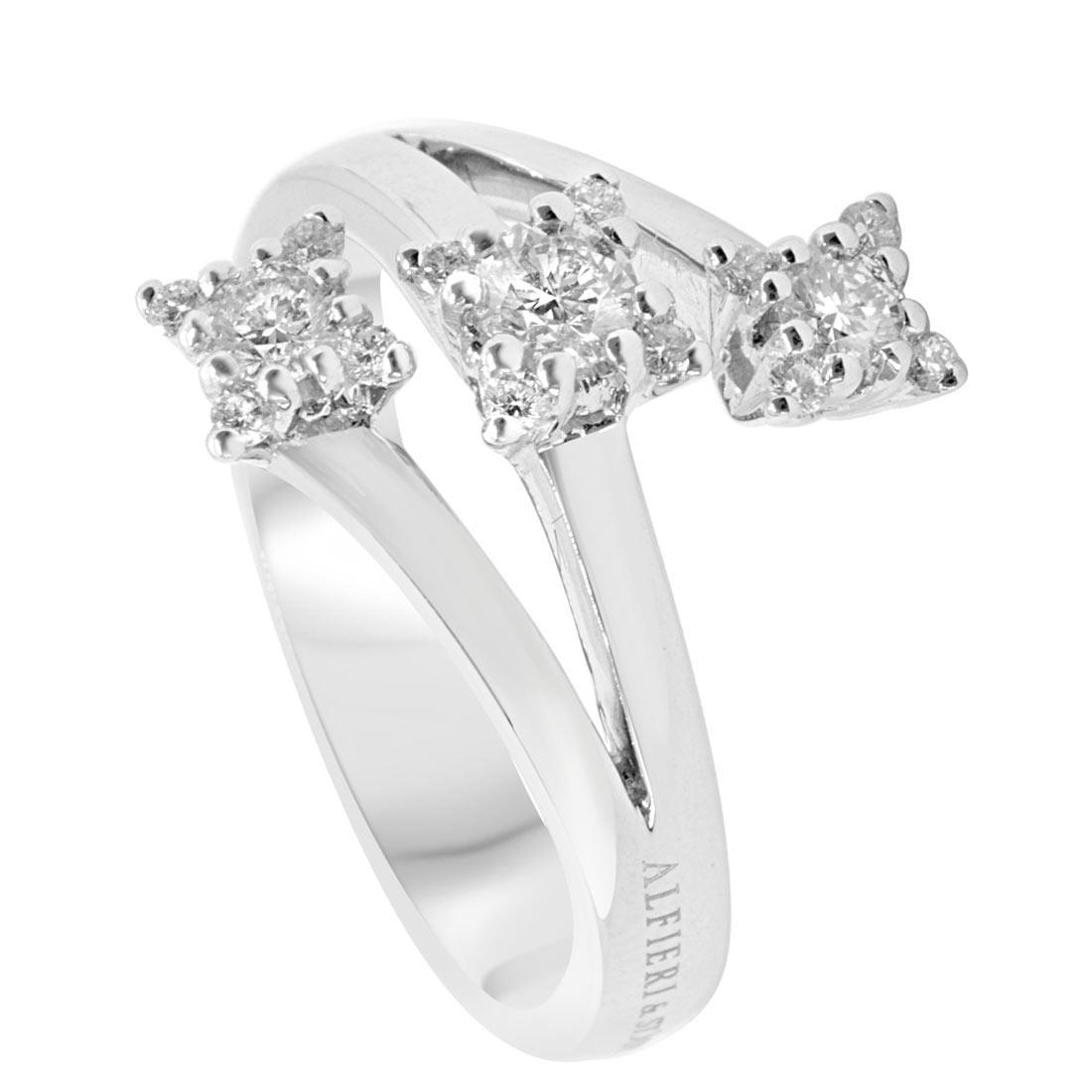Anello in oro bianco con diamanti 0,48 ct mis 14 - ALFIERI & ST. JOHN