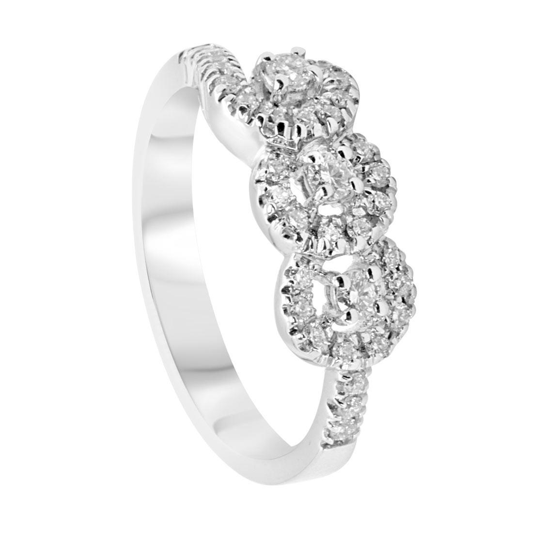 Anello veretta in oro bianco con diamanti 0,38 ct mis 13 - ALFIERI ST JOHN