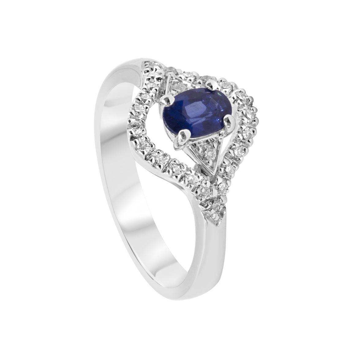 Anello in oro bianco con diamanti e zaffiri mis 13 - ALFIERI ST JOHN