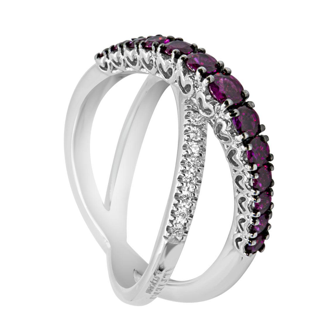 Anello a fasce incrociate con diamanti e rubini mis 12 - ALFIERI & ST. JOHN