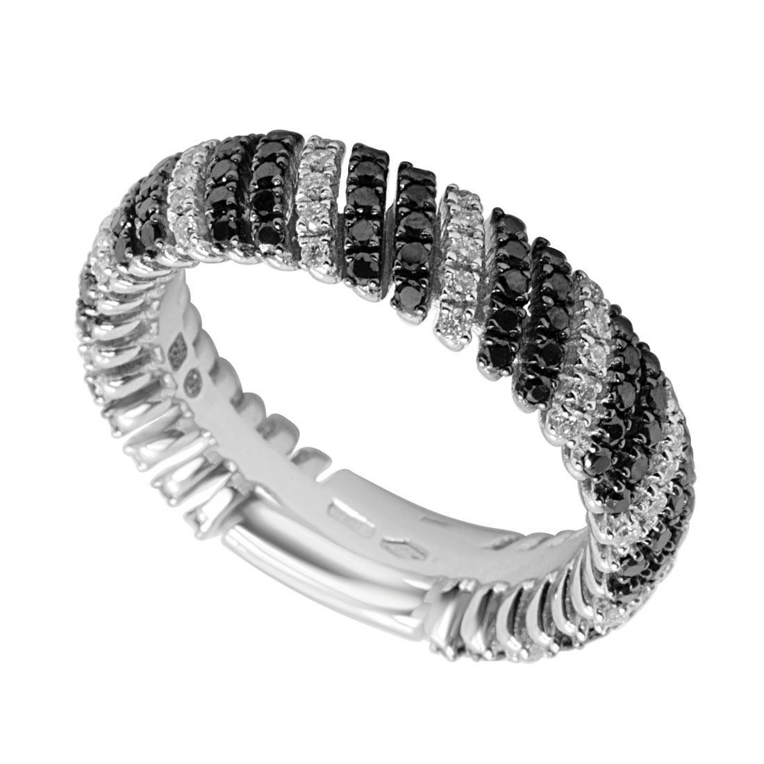 Anello a fascia in oro bianco con diamanti bianchi e neri mis 14 - ALFIERI & ST. JOHN