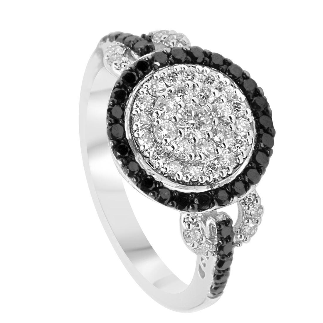 Anello in oro bianco con diamanti bianchi e neri, mis 14 - ALFIERI ST JOHN