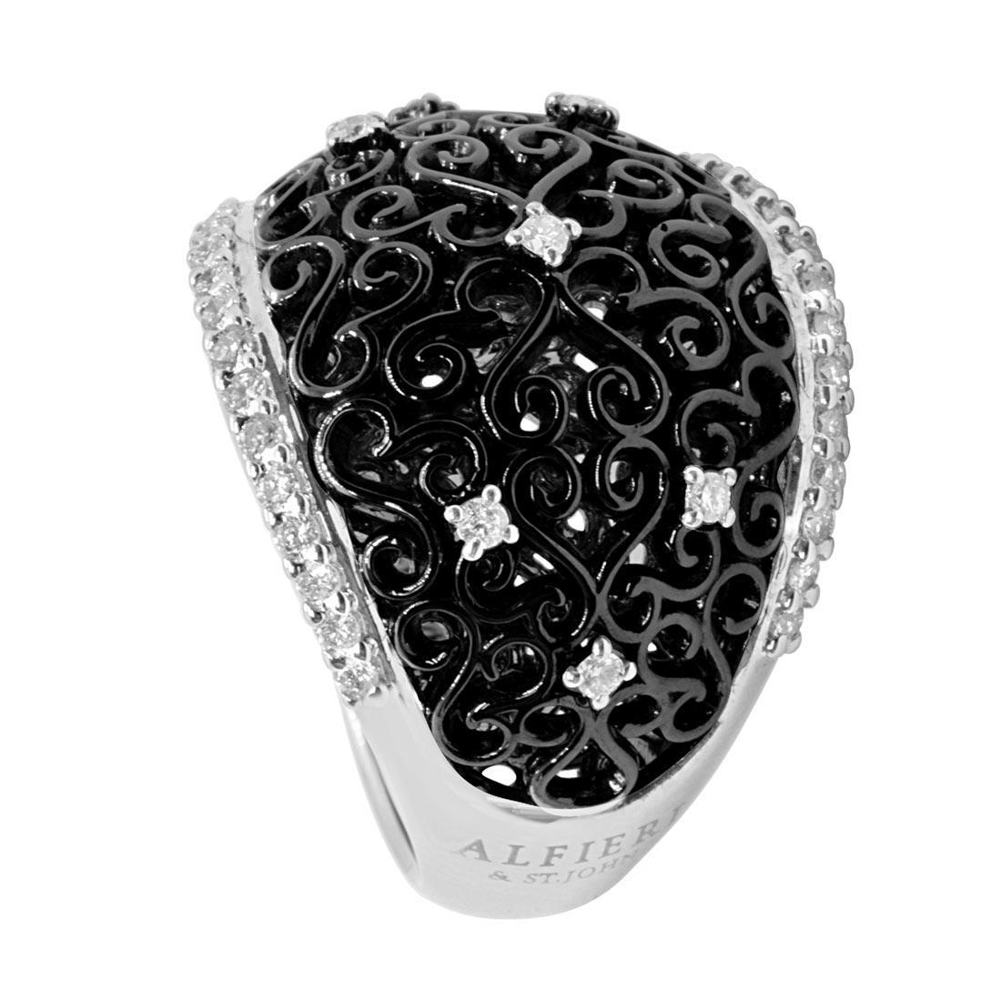 Anello a fascia in oro bianco e nero con diamanti mis 12 - ALFIERI ST JOHN