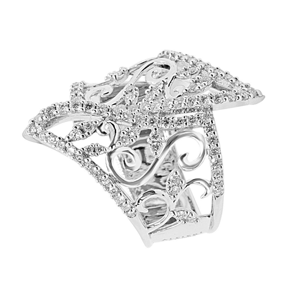 Anello in oro bianco con diamanti mis 15 - ALFIERI ST JOHN
