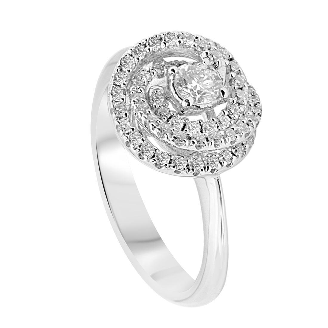 Anello in oro bianco con diamanti 0.52 ct mis 14 - ALFIERI & ST. JOHN