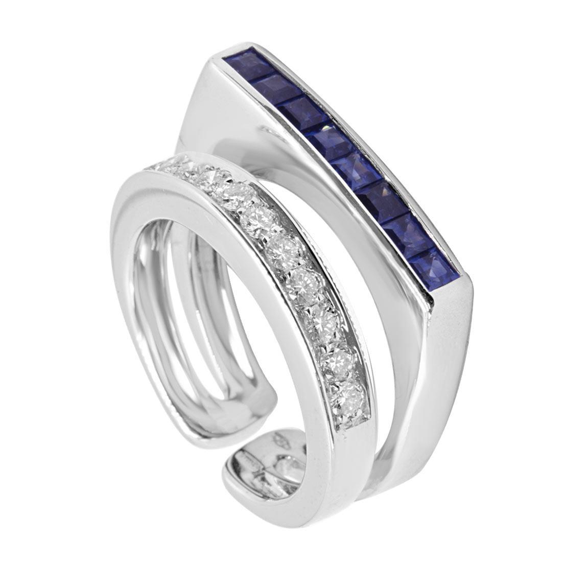 Anello design in oro bianco con diamanti e zaffiri mis 15 - ALFIERI & ST. JOHN