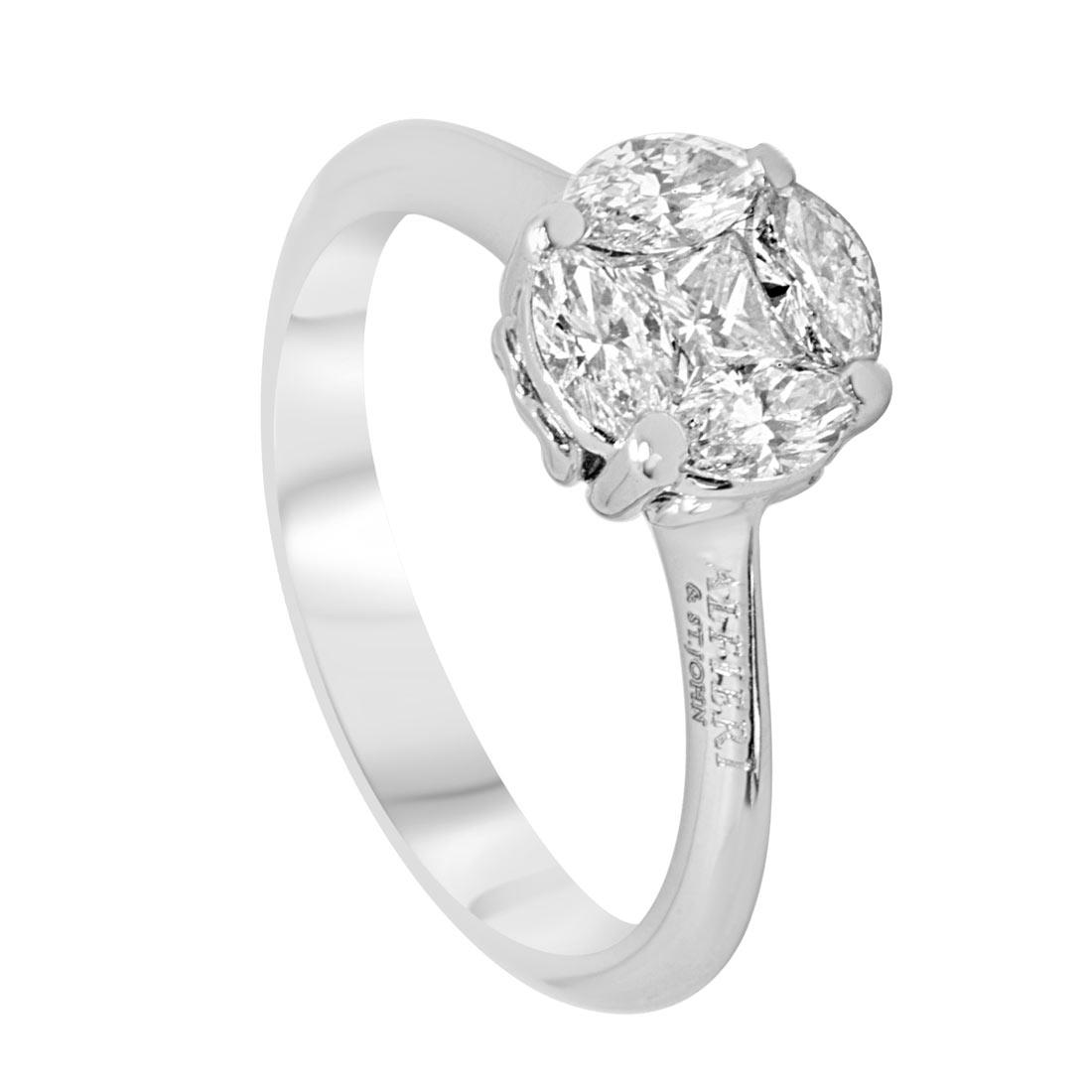 Anello solitario in oro bianco con diamanti 0,81 ct mis 13 - ALFIERI & ST. JOHN