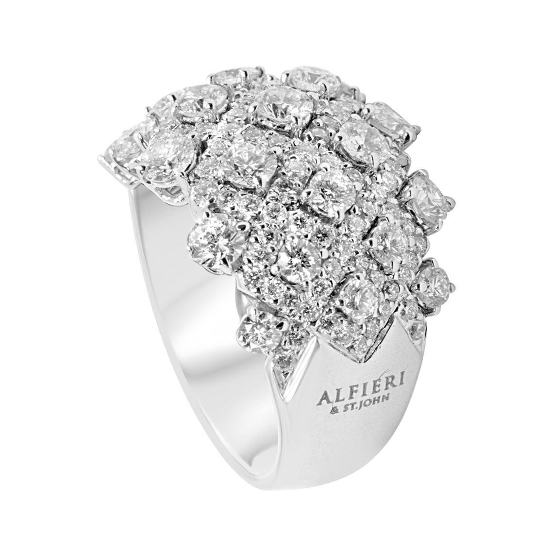Anello in oro bianco con diamanti 2,85 ct mis 13 - ALFIERI ST JOHN