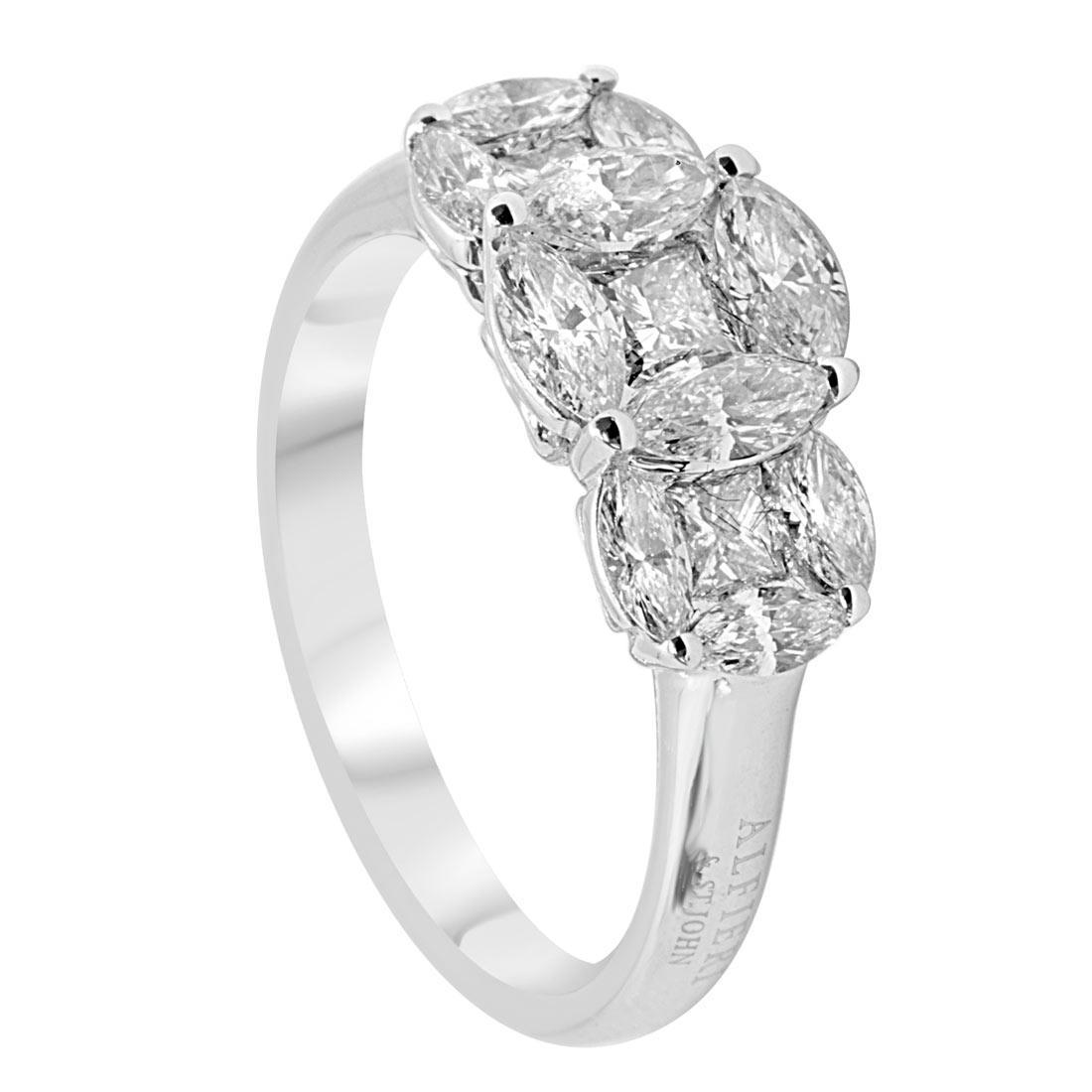 Anello trilogy in oro bianco con diamanti 1,47 ct mis 15 - ALFIERI ST JOHN