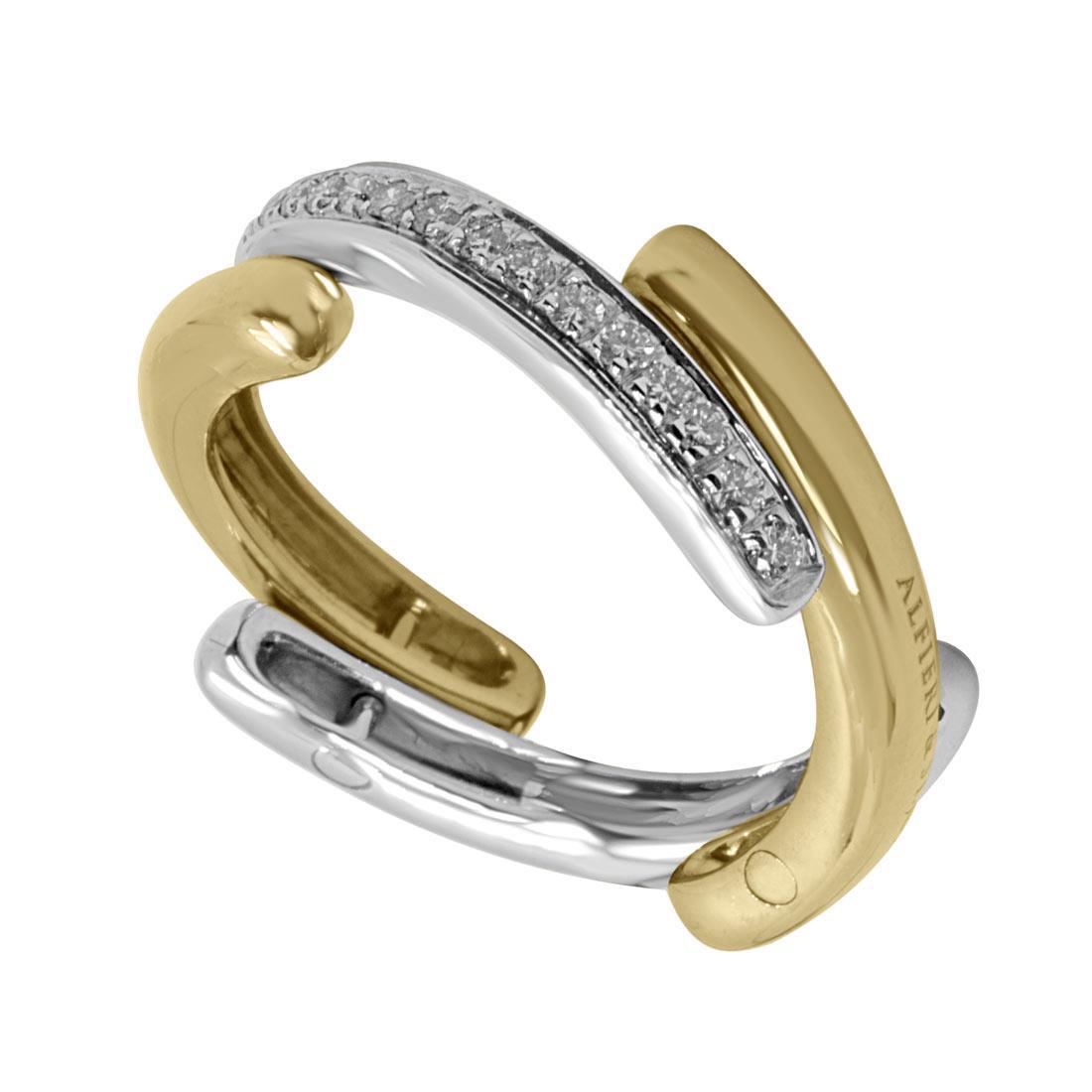 Anello in oro bianco e giallo con diamanti 0,15 ct, mis 13 - ALFIERI & ST. JOHN