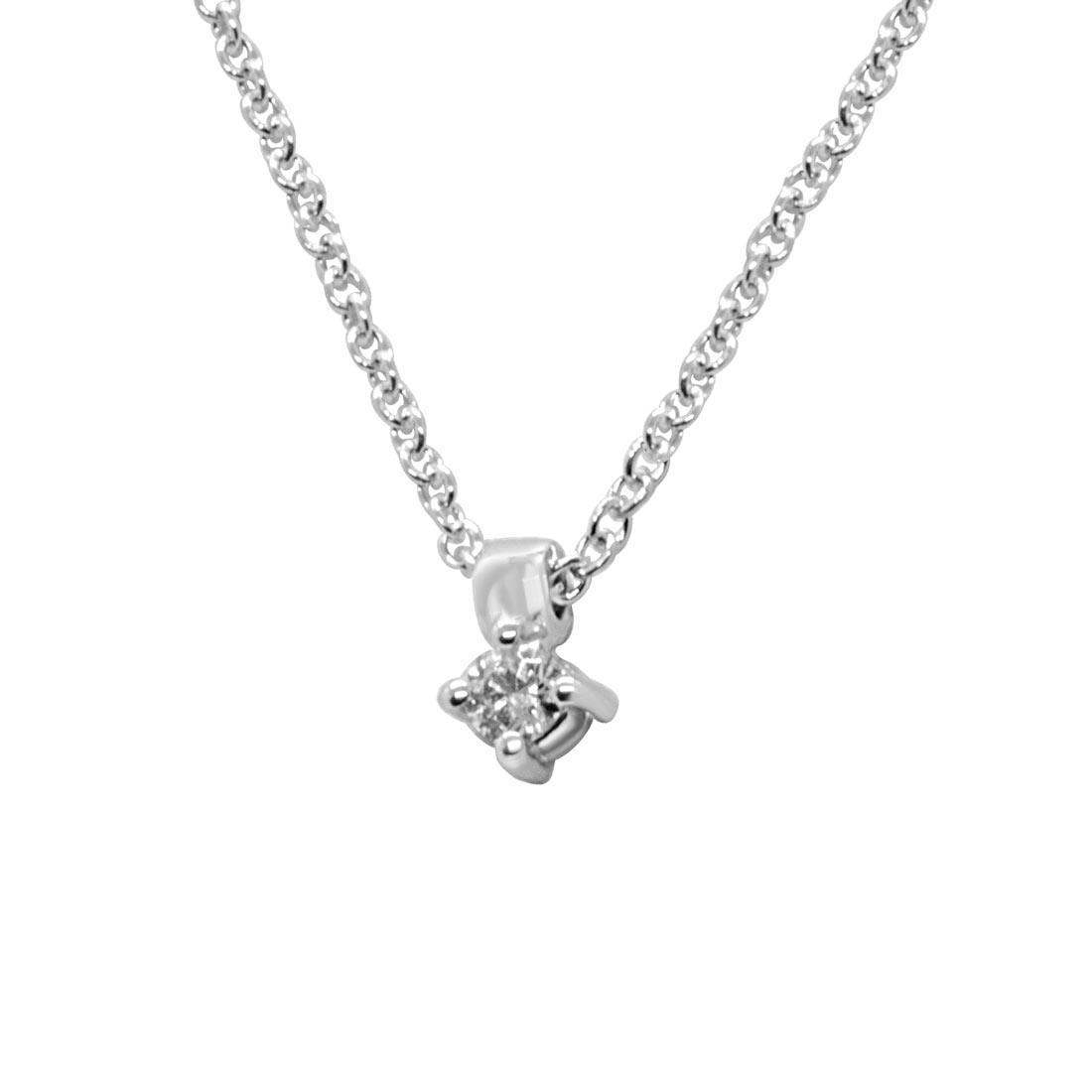 Collana punto luce in oro bianco con diamante 0.04 ct - ALFIERI ST JOHN