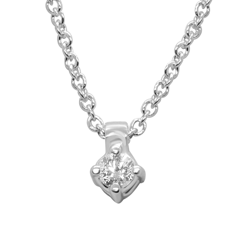 Collana punto luce in oro bianco con diamante 0.06 ct - ALFIERI ST JOHN
